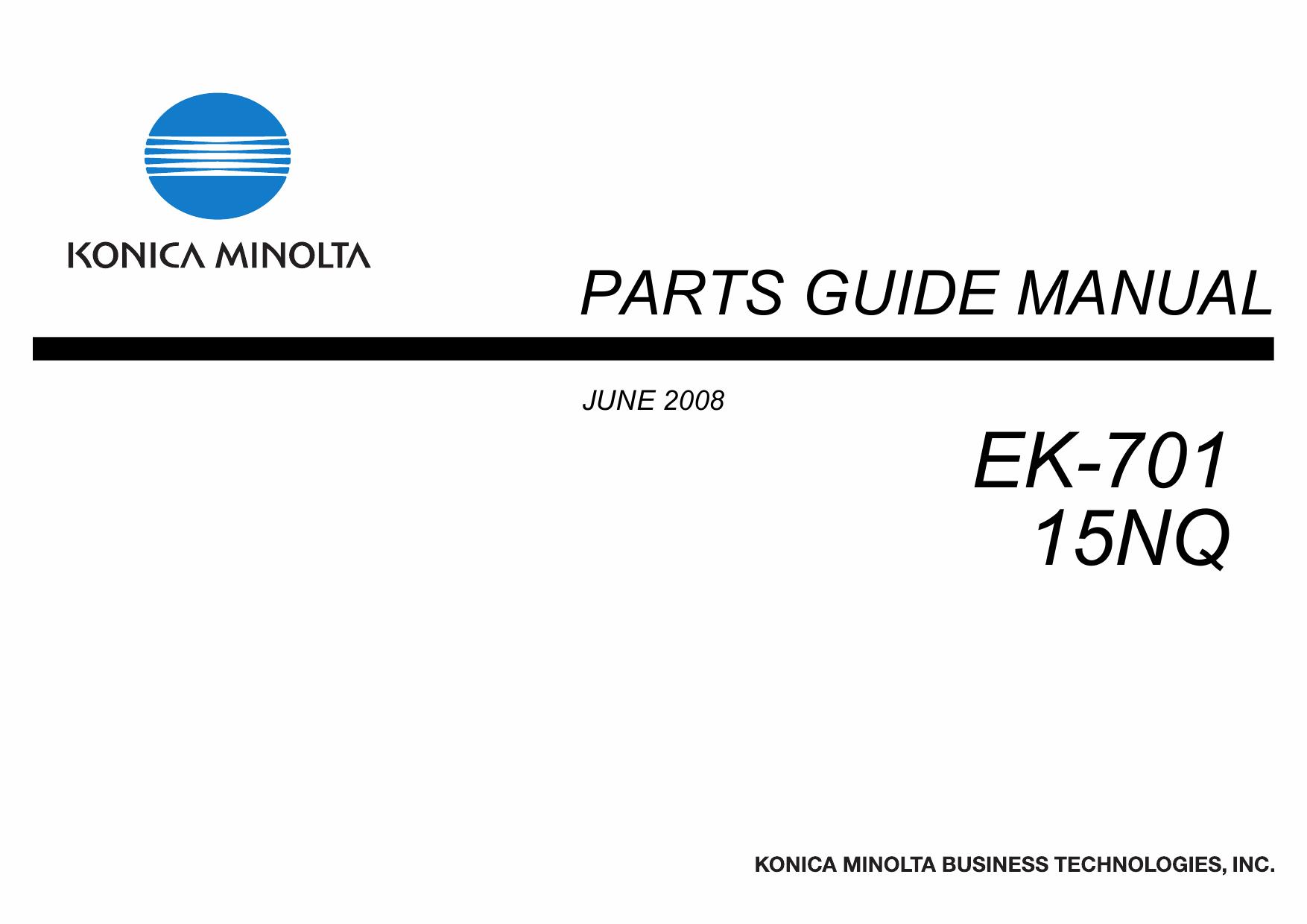 Konica-Minolta Options EK-701 15NQ Parts Manual
